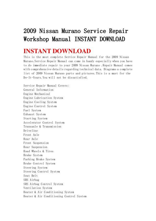 2009 nissan murano service repair workshop manual instant download rh slideshare net 2009 murano owners manual 2009 nissan murano owners manual
