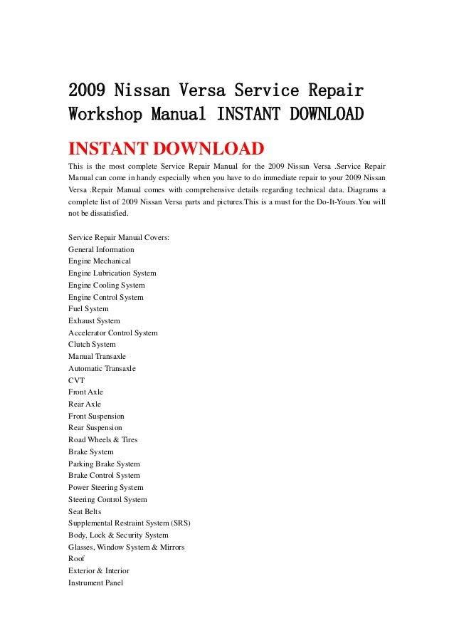 2009 nissan versa service repair workshop manual instant download rh slideshare net 2008 nissan versa service manual pdf 2008 nissan versa service manual pdf