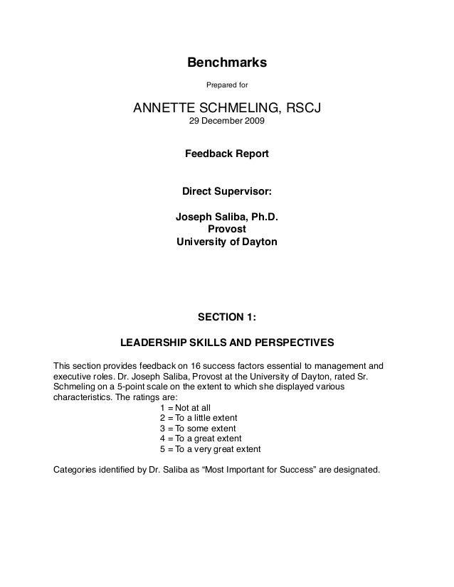 Benchmarks Prepared for ANNETTE SCHMELING, RSCJ 29 December 2009 Feedback Report Direct Supervisor: Joseph Saliba, Ph.D. P...