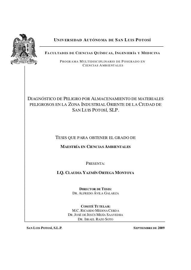 DIAGNÓSTICO DE PELIGRO POR ALMACENAMIENTO DE MATERIALES PELIGROSOS EN LA ZONA INDUSTRIAL ORIENTE DE LA CIUDAD DE SAN LUIS ...