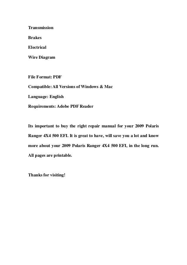 2009 polaris ranger 4 x4 500 efi service repair workshop manual downl…