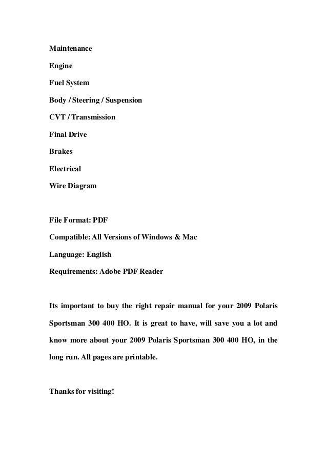 2009 polaris ranger 500 efi 4x4 atv workshop service repair manual download
