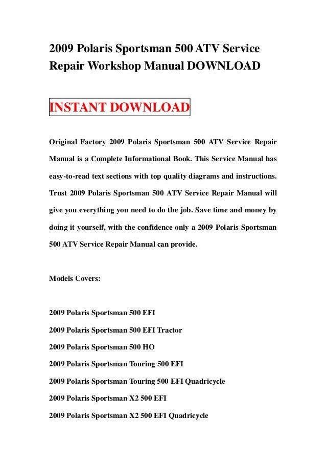 polaris sportsman touring 500 efi full service repair manual 2009 2011