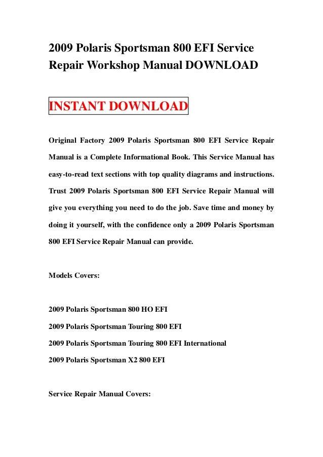 2006 polaris sportsman 500 efi atv service repair manual.