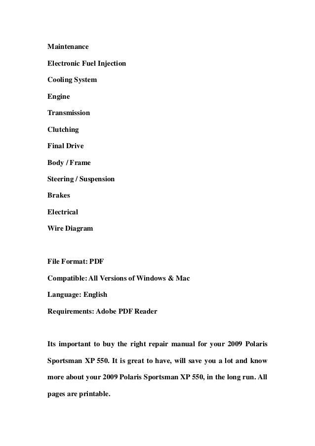polaris sportsman 300 400 h o 2009 factory service repair manual download