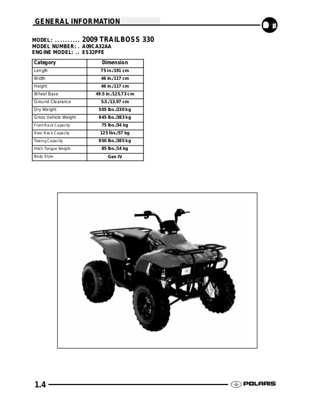 polaris trailboss 330 2009 service repair manual
