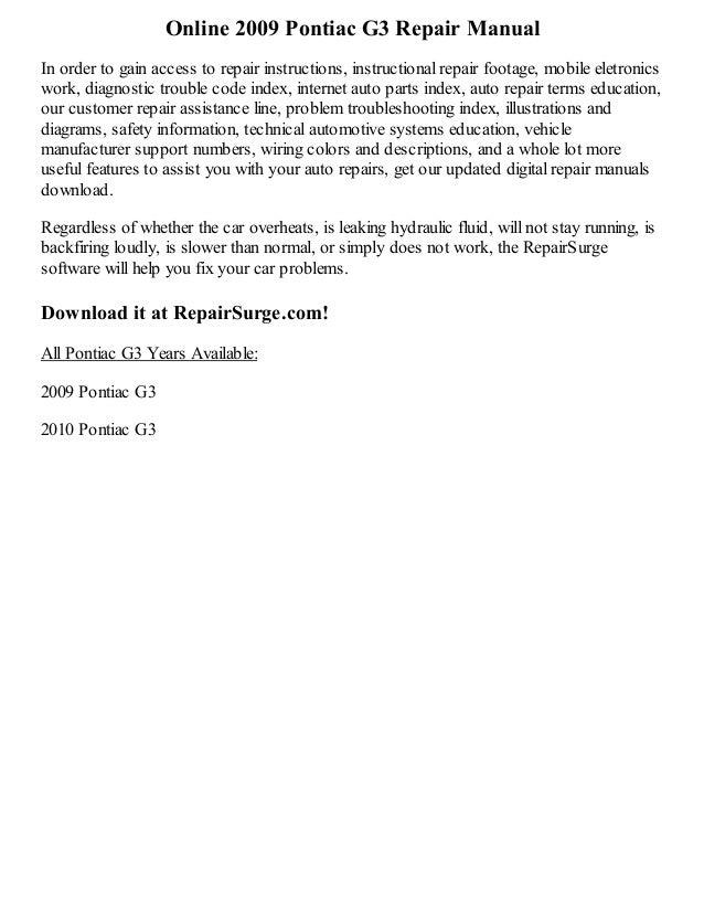 2009 pontiac g3 repair manual online. Black Bedroom Furniture Sets. Home Design Ideas