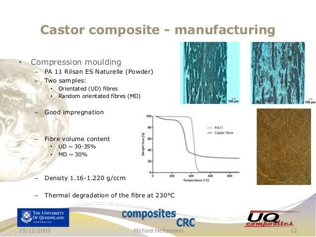 Castor composite - manufacturing •  Compression moulding – –  PA 11 Rilsan ES Naturelle (Powder) Two samples: • •  Orienta...