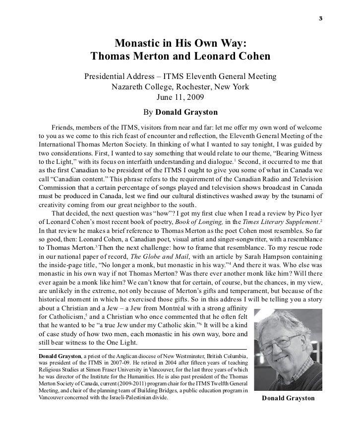 3                         Monastic in His Own Way:                      Thomas Merton and Leonard Cohen                   ...