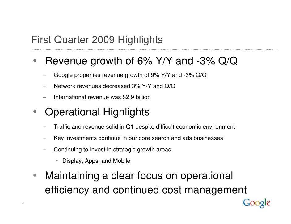 2009 Q1 Google Earnings Slides Slide 2