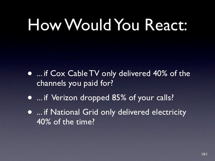 How Would You React:  • ... if Cox Cable TV only delivered 40% of the   channels you paid for? • ... if Verizon dropped 85...