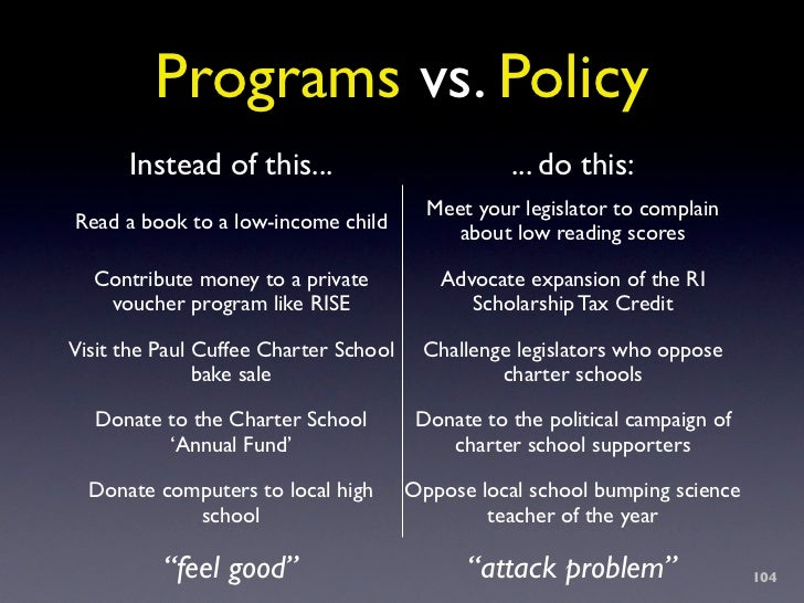 Programs vs. Policy       Instead of this...                          ... do this:                                        ...