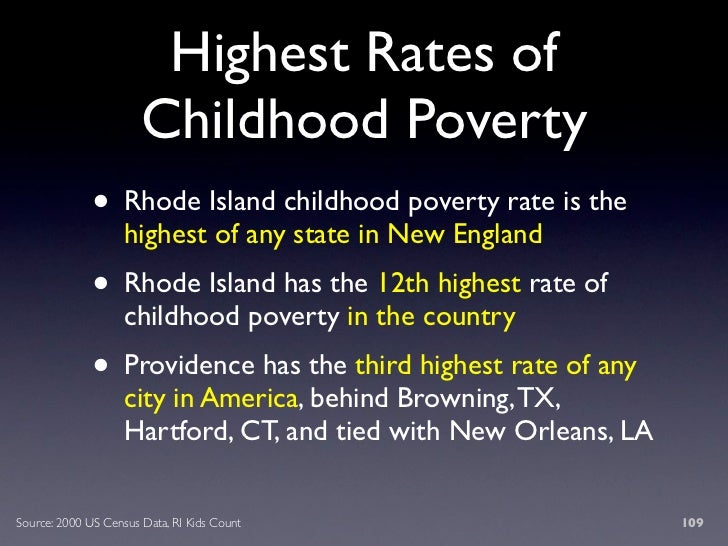 Highest Rates of                        Childhood Poverty               • Rhode Island childhood poverty rate is the      ...