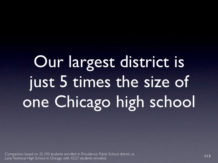 Our largest district is             just 5 times the size of            one Chicago high school  Comparison based on 25,19...