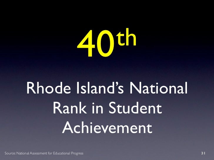 40 th              Rhode Island's National                 Rank in Student                  Achievement Source: National A...
