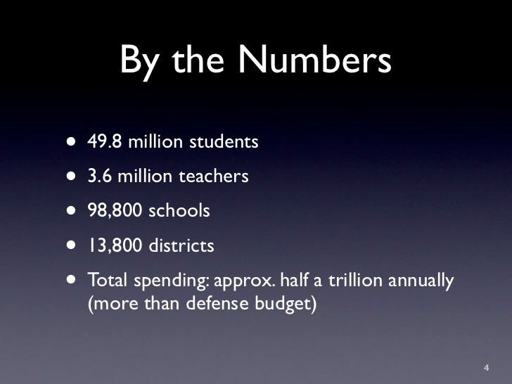 By the Numbers • 49.8 million students • 3.6 million teachers • 98,800 schools • 13,800 districts • Total spending: approx...