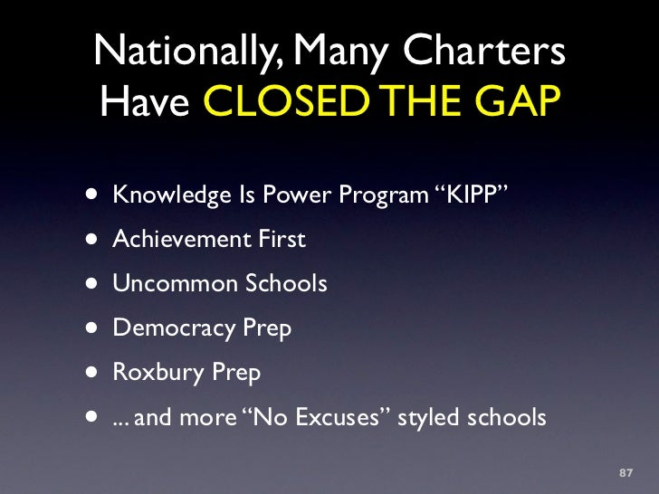"""Nationally, Many Charters Have CLOSED THE GAP  • Knowledge Is Power Program """"KIPP"""" • Achievement First • Uncommon Schools ..."""