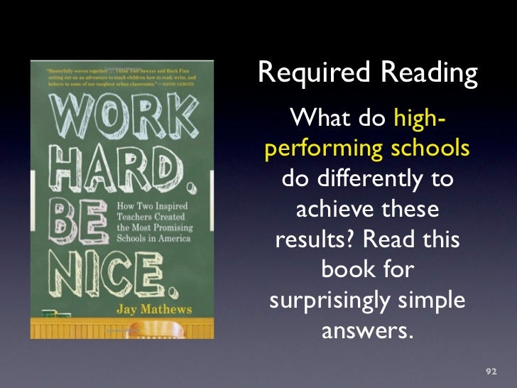 Required Reading    What do high- performing schools   do differently to    achieve these  results? Read this      book fo...