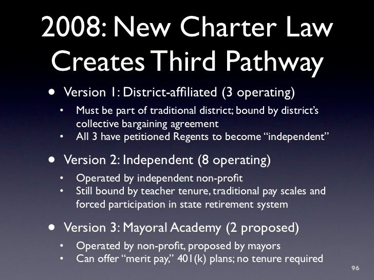 2008: New Charter Law  Creates Third Pathway •   Version 1: District-affiliated (3 operating)     •   Must be part of tradi...