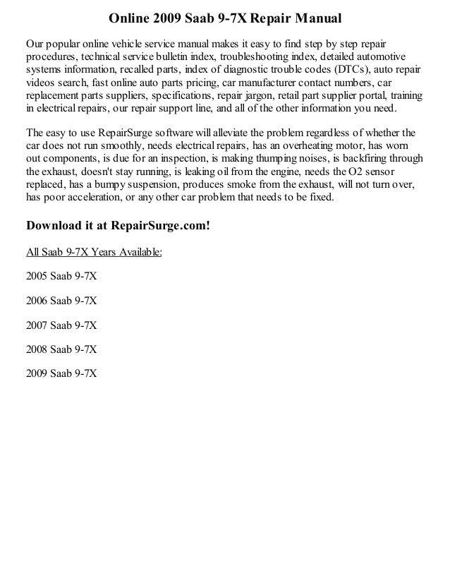 2009 saab 9 7 x repair manual online rh slideshare net Saab 9-7X Commercial Saab 9-2X