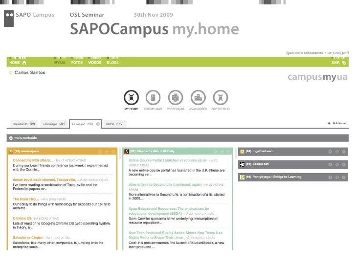 SAPO Campus   OSL Seminar   30th Nov 2009                SAPOCampus my.home