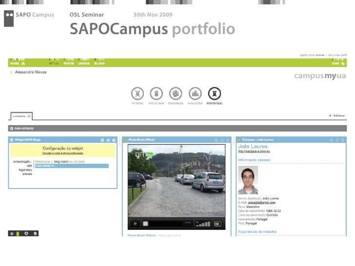 SAPO Campus   OSL Seminar   30th Nov 2009                SAPOCampus portfolio