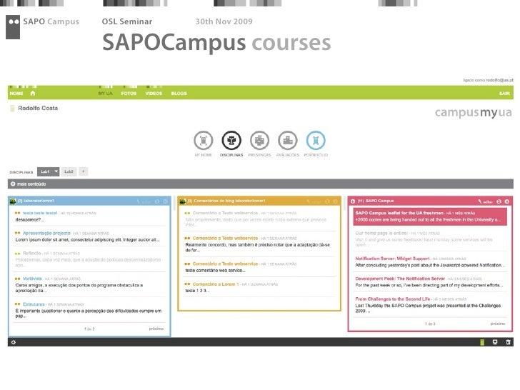 SAPO Campus   OSL Seminar   30th Nov 2009                SAPOCampus courses