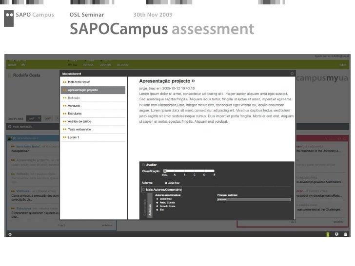 SAPO Campus   OSL Seminar   30th Nov 2009                SAPOCampus assessment