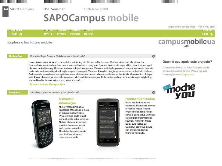 SAPO Campus   OSL Seminar   30th Nov 2009                SAPOCampus mobile