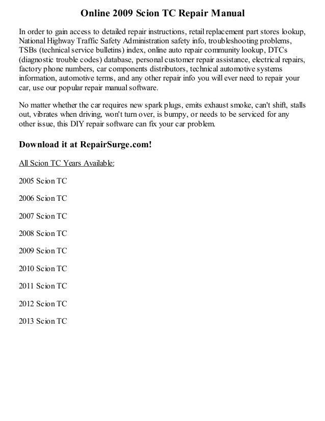 2009 scion tc repair manual online rh slideshare net 2008 scion tc owners manual pdf free download 2008 scion tc owners manual