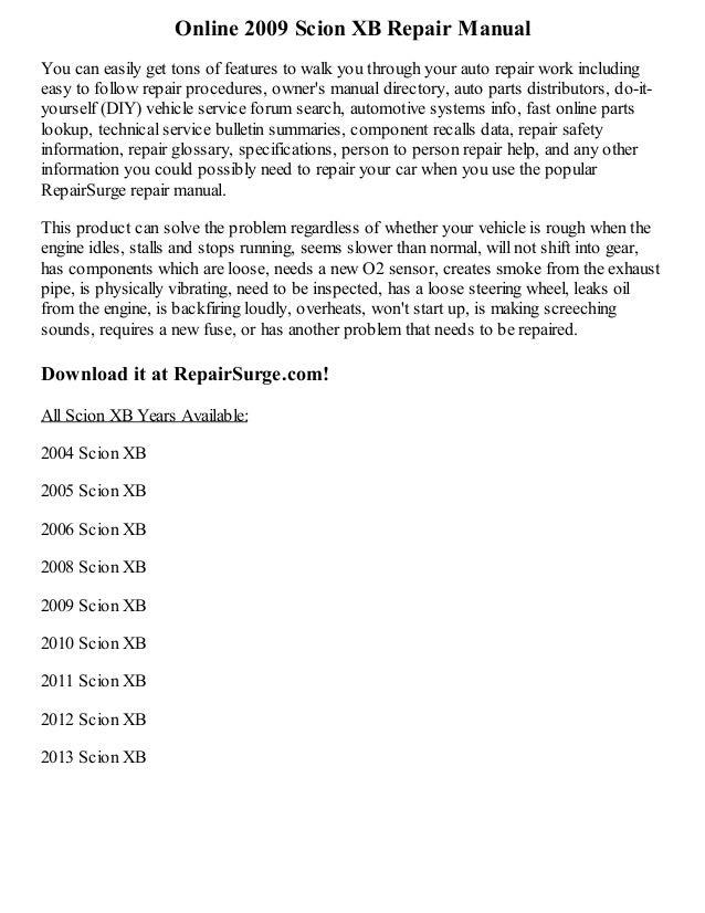 2009 Scion Xb Repair Manual Online