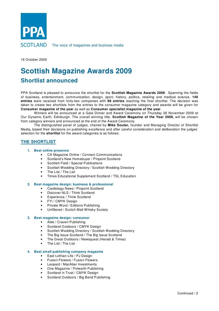 The voice of magazines and business media   16 October 2009   Scottish Magazine Awards 2009 Shortlist announced PPA Scotla...