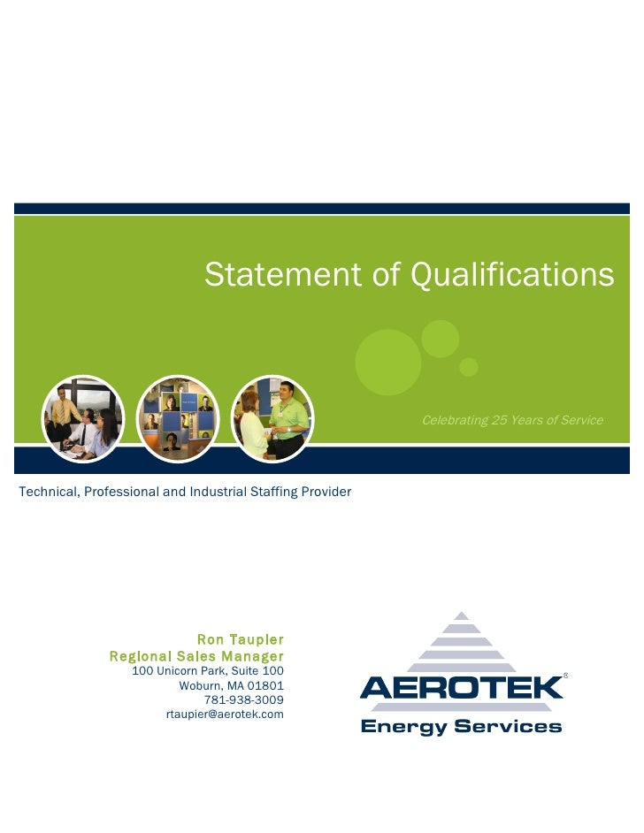Statement of Qualifications                                                              Celebrating 25 Years of Service  ...