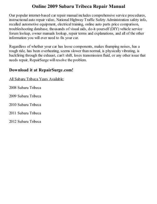 2009 subaru tribeca repair manual online rh slideshare net 2008 subaru tribeca service manual 2007 subaru tribeca owners manual