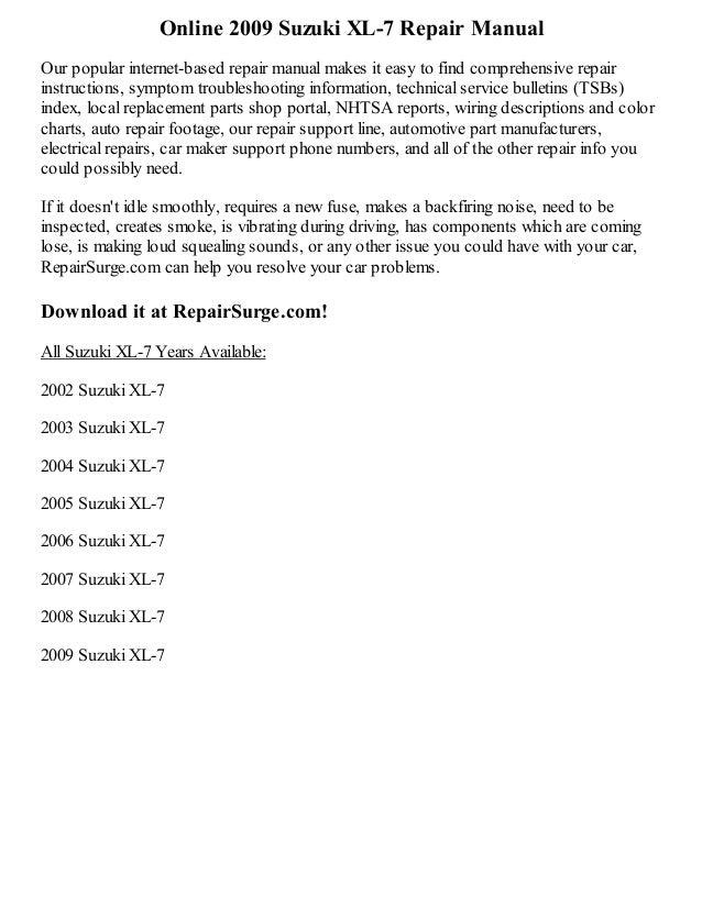 2009 suzuki xl 7 repair manual online rh slideshare net 2002 suzuki xl7 repair manual pdf 2002 suzuki xl7 service manual