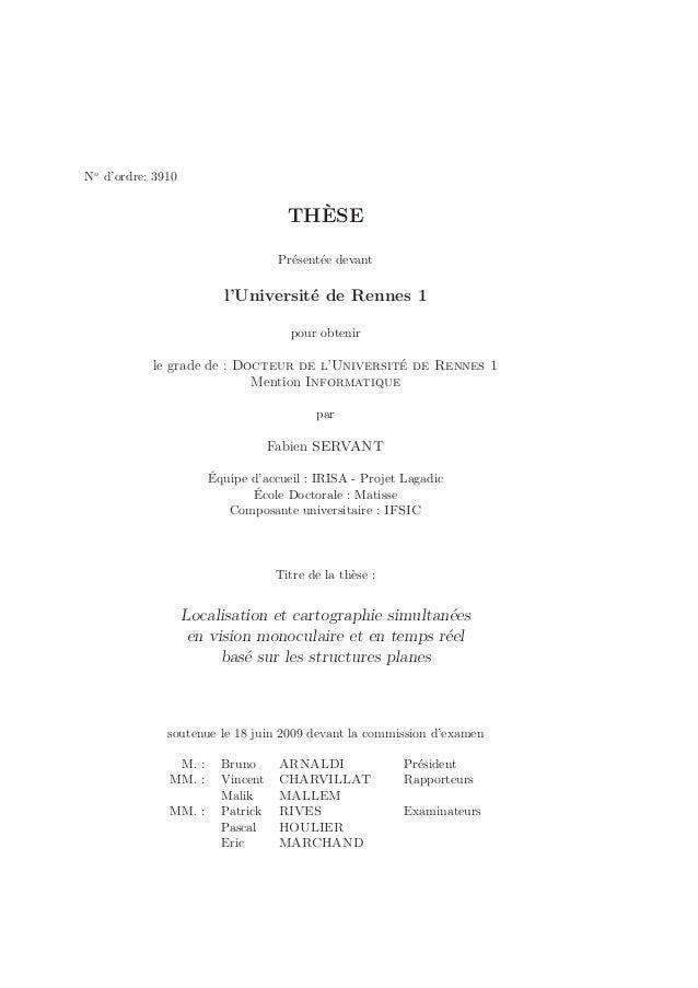 No d'ordre: 3910  THÈSE  Présentée devant  l'Université de Rennes 1  pour obtenir  le grade de : Docteur de l'Université d...