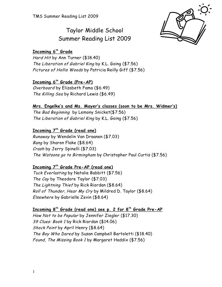 TMS Summer Reading List 2009                 Taylor Middle School             Summer Reading List 2009  Incoming 6th Grade...