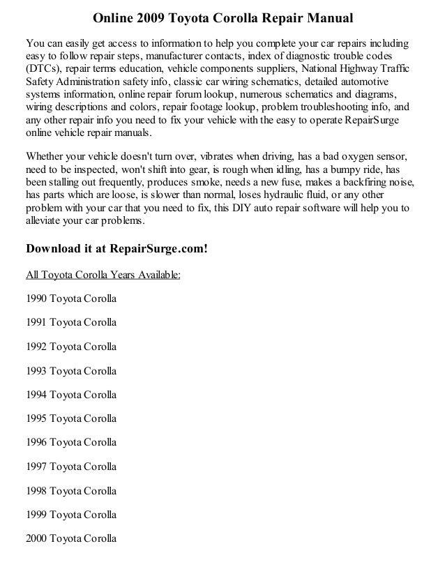 2009 toyota corolla repair manual online rh slideshare net 2009 toyota corolla repair manual pdf 2009 toyota corolla owners manual