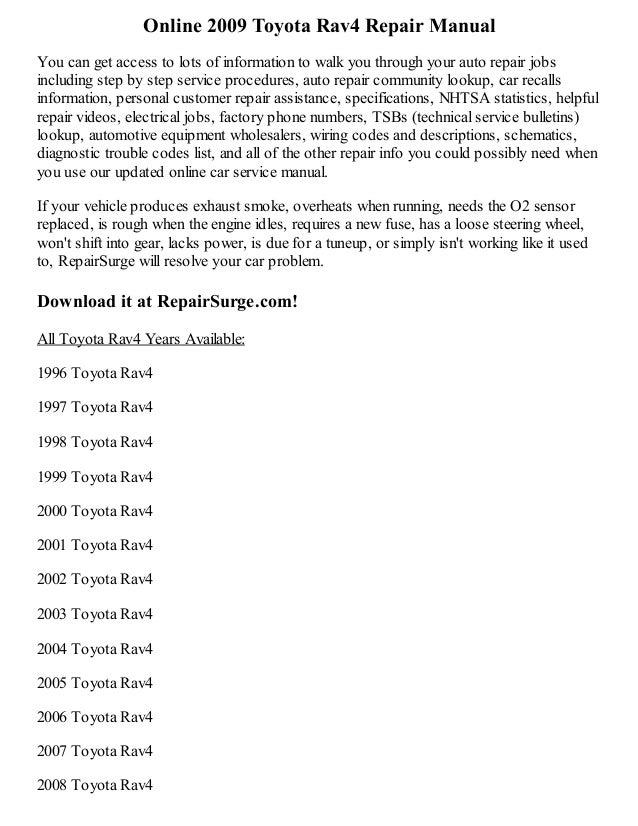 2009 toyota rav4 repair manual online rh slideshare net 2009 toyota rav4 owners manual pdf 2009 toyota rav4 service manual