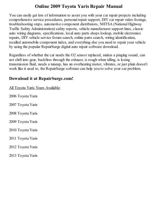 2009 toyota yaris repair manual online rh slideshare net 2009 toyota yaris factory repair manuals 2009 toyota yaris repair manual pdf