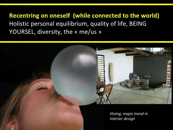 Recentring on oneself  (while connected to the world) Holistic personal equilibrium, quality of life, BEING YOURSEL, diver...