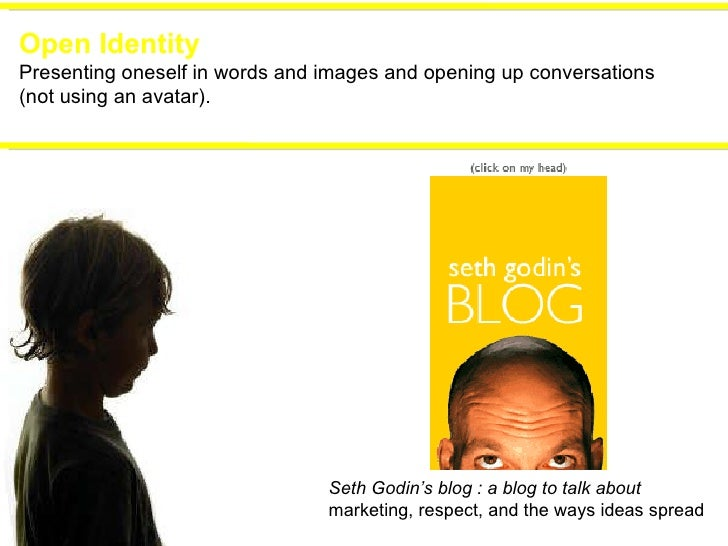 Open Identity Presenting oneself in words and images and opening up conversations (not using an avatar). Seth Godin's blog...