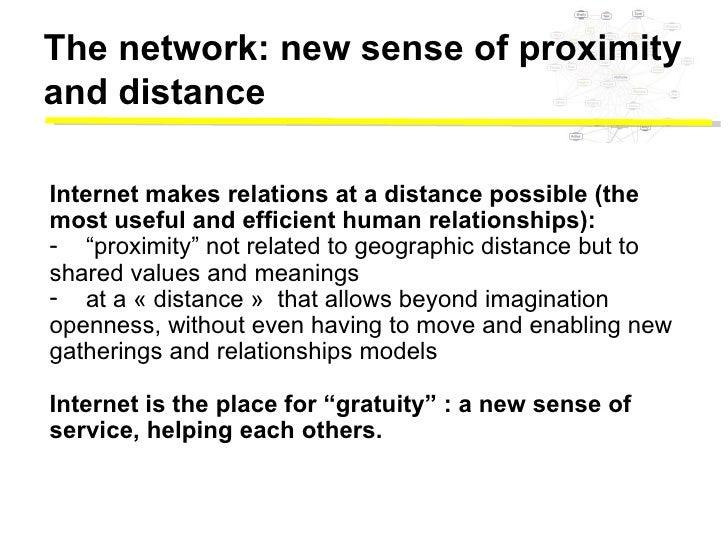 <ul><li>Internet makes relations at a distance possible (the  </li></ul><ul><li>most useful and efficient human relationsh...