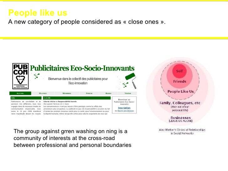 People like us A new category of people considered as «close ones». The group against grren washing on ning is a communi...