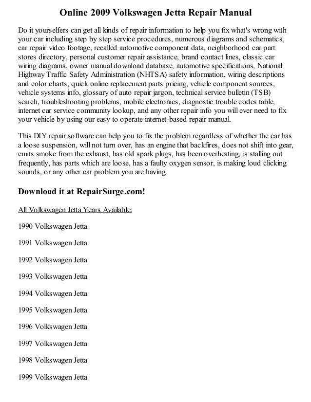2009 volkswagen jetta repair manual online rh slideshare net 1998 vw jetta service manual 1998 volkswagen jetta owners manual pdf