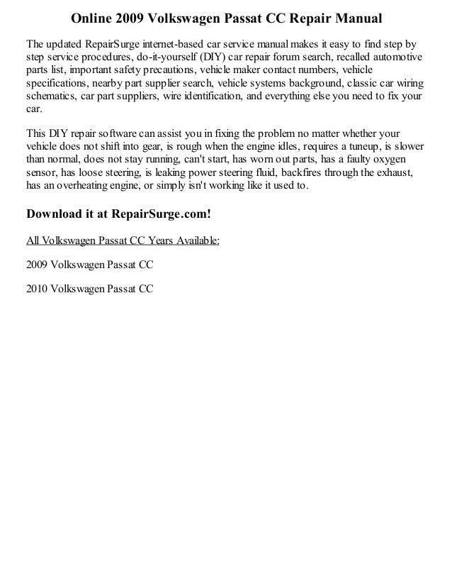 2009 volkswagen passat cc repair manual online rh slideshare net 2009 Volkswagen Passat CC Sport 2017 Volkswagen Passat CC