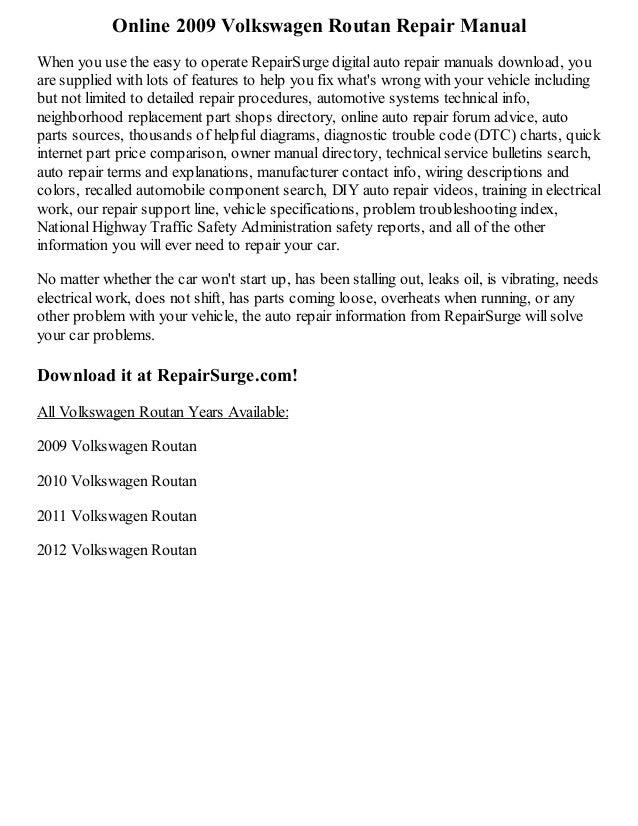 vw touareg repair manual pdf