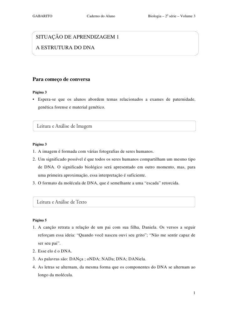 GABARITO                       Caderno do Aluno                 Biologia – 2a série – Volume 3      SITUAÇÃO DE APRENDIZAG...