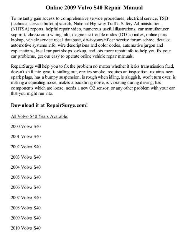 volvo v40 haynes manual pdf