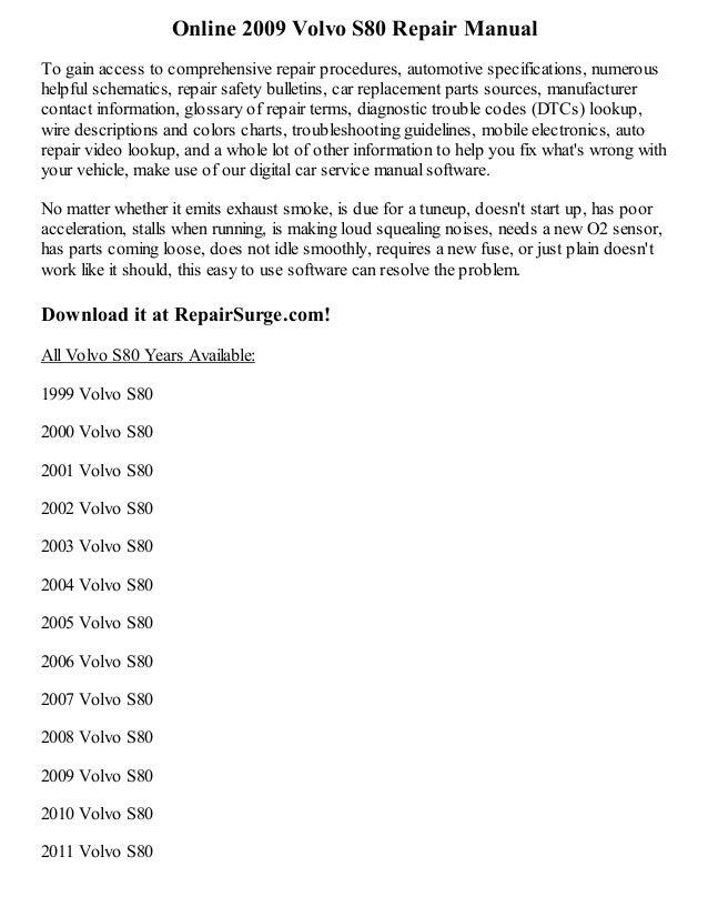 2009 Volvo S80 Repair Manual Online